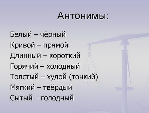 Антонимы – это только одной части речи слова, отличающиеся звучанием и ...